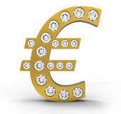 Golden CG Euro symbol incrusted with diamonds Stock Image