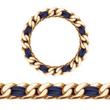 Golden chain with black fabric ribbon vector brush Stock Image