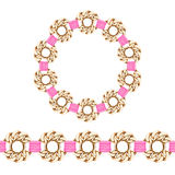Golden chain bracelet or necklace with pink fabric Royalty Free Stock Photos