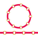 Golden chain bracelet or necklace with red fabric Stock Image