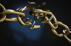Golden chain broken 3D illustration. Golden chain broken with copyspace 3D illustration Stock Photo