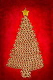 Golden chain Christmas tree on red Stock Image