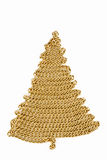 Golden chain Christmas tree on white Royalty Free Stock Photos