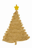 Golden chain Christmas tree on white Stock Photos