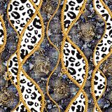 Golden chain glamour snakeskin and leopard fur seamless pattern illustration. Watercolor texture with golden chains. Golden chain glamour, snakeskin and leopard vector illustration