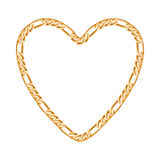 golden chain - heart frame Royalty Free Stock Photos
