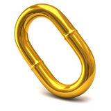 Golden chain link. 3d illustration of golden chain link Stock Photography