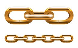 Golden chain. Links vector illustration isolated Stock Images