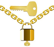 Golden chain, lock and key Stock Photos