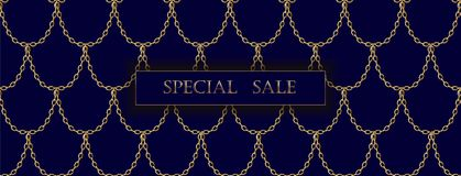 Golden chain luxury sale banner template. Dark deep blue gold fish scales. Promotional commercial offer invitation. Vector illustration art Royalty Free Stock Photo