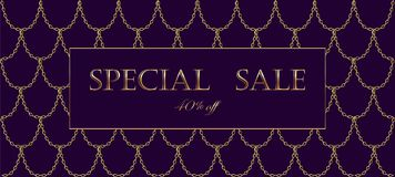 Free Golden Chain Luxury Sale Banner Template. Dark Deep Purple Gold Fish Scales. Promotional Commercial Offer Invitation Stock Photo - 99814120
