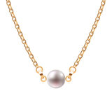 Golden chain necklace with pearl Royalty Free Stock Image