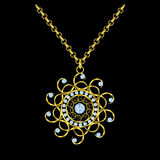 Golden chain necklace with round diamond pendant. Royalty Free Stock Images