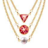Golden chain necklaces set  with round triangle ruby pendants and pearl Stock Image