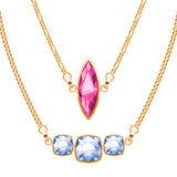 Golden chain necklaces set with ruby and diamonds gemstones pendants. Stock Image