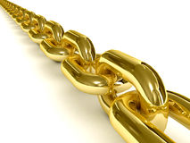 Golden chain over white background. Royalty Free Stock Photography