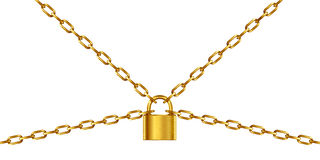 Golden chain and padlock Stock Photo