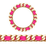 Golden chain with pink fabric ribbon vector brush Royalty Free Stock Photos