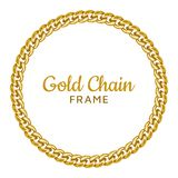 Golden chain round border frame. Seamless wreath circle shape. Realistic vector illustration isolated on a white background royalty free illustration