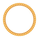 Golden chain - round frame on the white background Stock Images