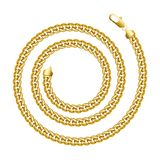 Golden chain round spiral border frame. Wreath circle shape. Royalty Free Stock Images