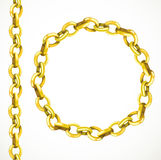 Golden chain seamless line and closed in a circle Royalty Free Stock Images