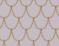 Golden chain seamless pattern on pale pink background. Gold Dragon scale  art. Stock Photos