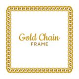 Golden chain square border frame. Rectangle wreath shape. Gold jewelry design. Realistic vector illustration isolated on a white background stock illustration