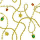 Golden chain with golden sun, ruby diamond, emerald color seamless pattern fashion design, vector illustration background. Endless royalty free illustration