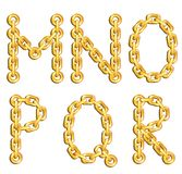 Golden chained alphabet Royalty Free Stock Image