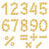 Golden chained digits Stock Photos