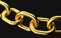 Golden chains on black background. 3d rendering stock illustration