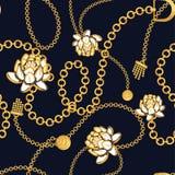 Golden chains bold floral blue pattern fashion vector design. vector illustration