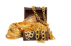 Golden chains and bracelets Royalty Free Stock Image