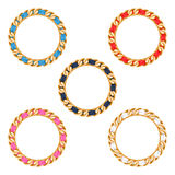 Golden chains with colorful fabric ribbon vector frames set Royalty Free Stock Photography