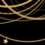 Golden chains on dark black background. Royalty Free Stock Photography