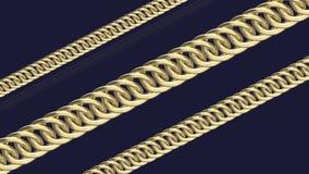 Golden chains on dark blue background 3d render. Diagonal gold chains on a dark background stock illustration