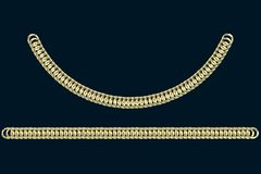 Golden chains on a dark blue background. 3d render. Wide jewelry chains are shown in a straight line and a curved line royalty free stock images