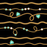 Golden chains and gemstones seamless pattern. Stock Photo