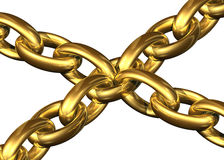 Golden chains kept toghether by a central chain element. On a white background stock illustration