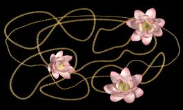 Golden chains and lotus flowers on a black background. 3d rendering vector illustration