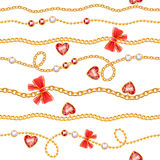 Golden chains and red gemstones with bows pattern. Stock Image