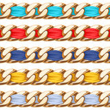 Golden chains set with colorful fabric ribbon Royalty Free Stock Photos