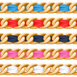 Golden chains set with colorful fabric ribbon vector brush Stock Photo