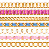 Golden chains set with colorful fabric ribbon vector brush. Stock Image