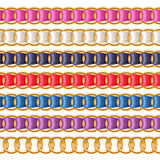 Golden chains set with colorful fabric ribbon vector brush. Stock Photography