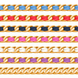 Golden chains set with colorful fabric ribbon vector brush. Royalty Free Stock Photo