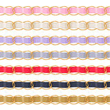 Golden chains set with colorful fabric ribbon vector brush. Royalty Free Stock Image