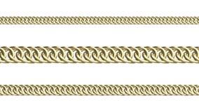 Golden chains on white background 3d render. Golden chains on white background, isolated objects 3d render stock illustration