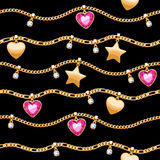 Golden chains white and pink gemstones pattern. Royalty Free Stock Image